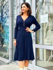 Платье теплое, юбка плиссе с люрексом - 3190 грн